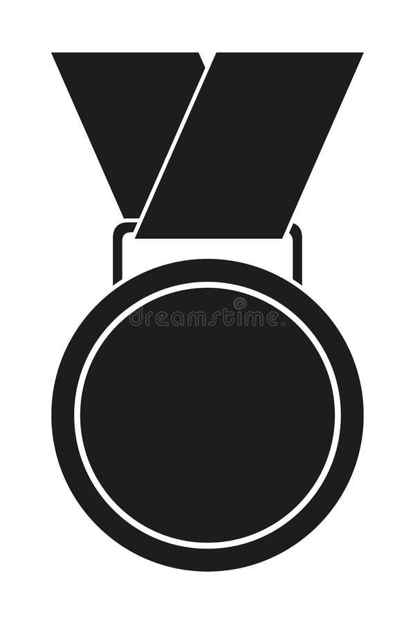 Silueta blanco y negro de la medalla del premio ilustración del vector