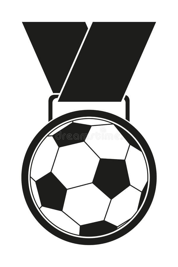 Silueta blanco y negro de la medalla del premio del fútbol libre illustration