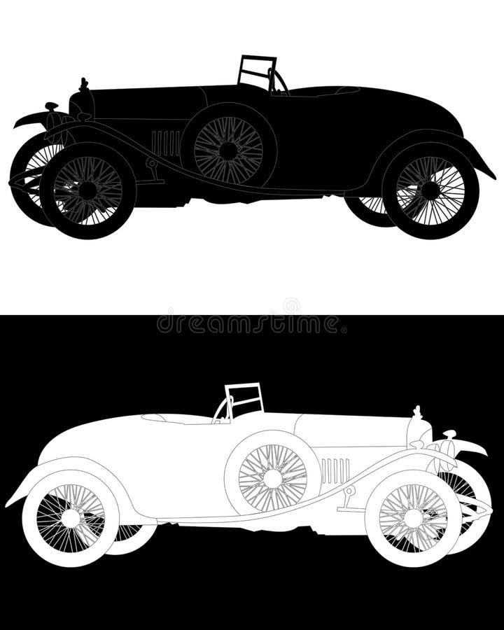 Silueta blanco y negro de un coche retro ilustración del vector