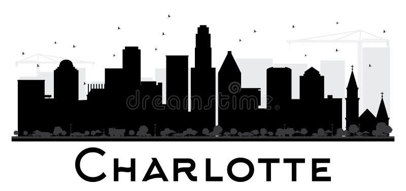 Silueta blanco y negro del horizonte de Charlotte City stock de ilustración