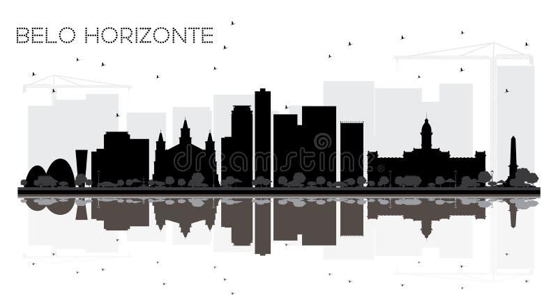 Silueta blanco y negro del horizonte de la ciudad de Belo Horizonte el Brasil ilustración del vector