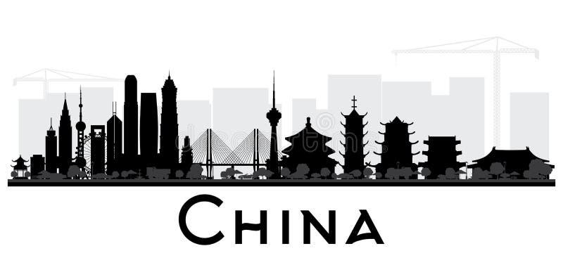 Silueta blanco y negro del horizonte de la ciudad de China libre illustration
