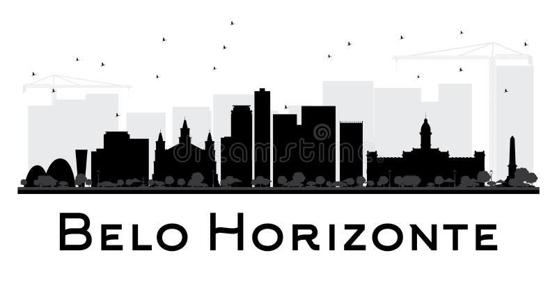 Silueta blanco y negro del horizonte de la ciudad de Belo Horizonte stock de ilustración