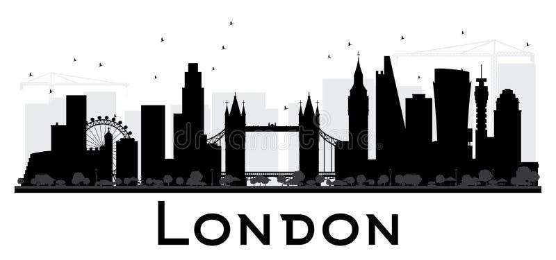 Silueta blanco y negro del horizonte de la ciudad de Londres stock de ilustración