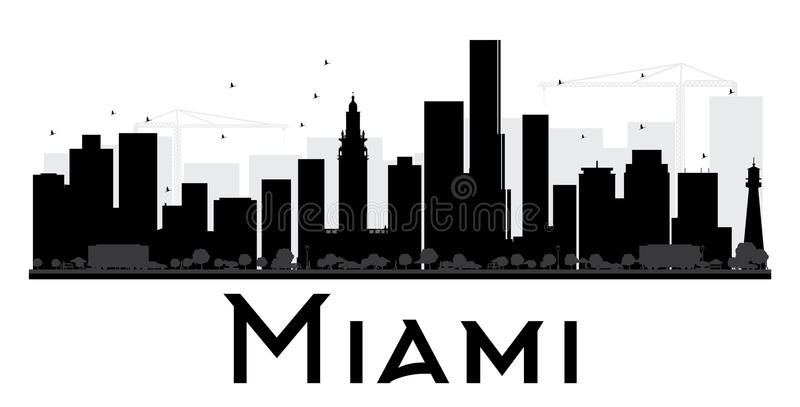 Silueta blanco y negro del horizonte de la ciudad de Miami libre illustration