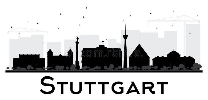 Silueta blanco y negro del horizonte de la ciudad de Stuttgart ilustración del vector