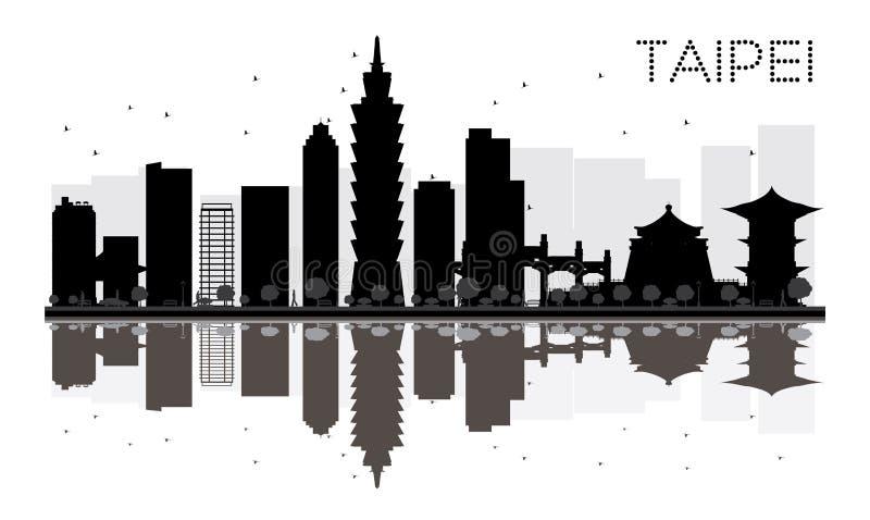 Silueta blanco y negro del horizonte de la ciudad de Taipei con reflexiones stock de ilustración