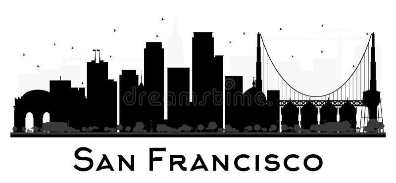 Silueta blanco y negro del horizonte de San Francisco City stock de ilustración
