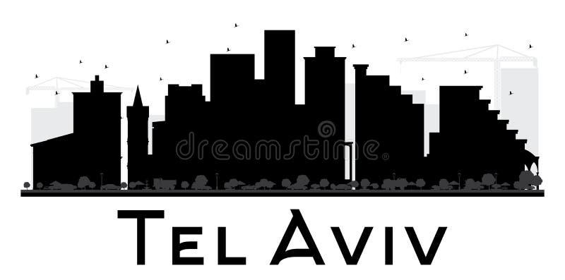 Silueta blanco y negro del horizonte del teléfono Aviv City ilustración del vector