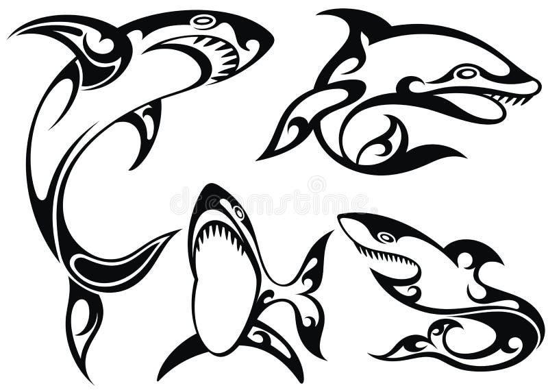 Silueta Blanco Y Negro Del Tatuaje De Tiburones
