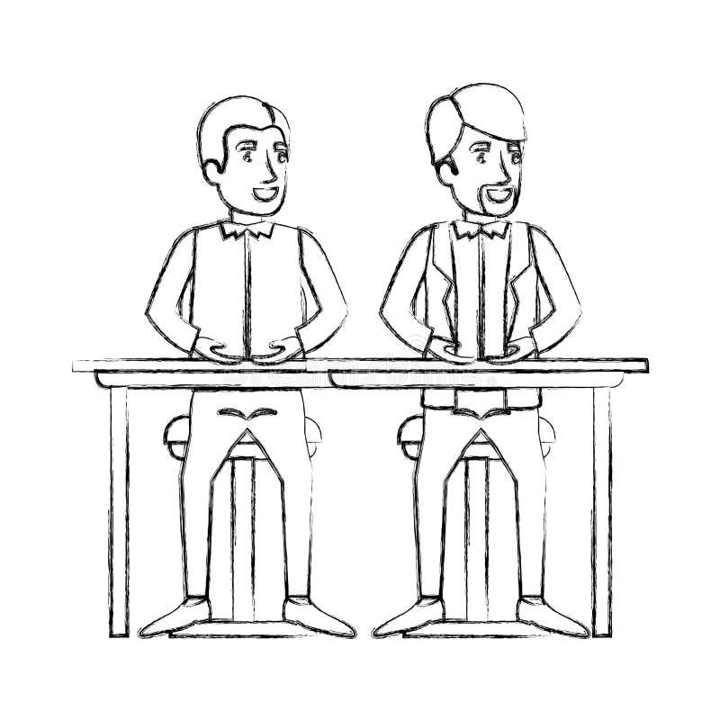 Silueta borrosa de los hombres que se sientan en el escritorio uno con ropa casual y el otro con ropa y la barba formales de van  stock de ilustración