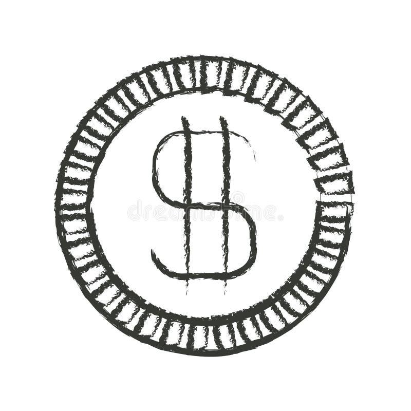Silueta borrosa monocromática de la moneda con símbolo del dinero stock de ilustración