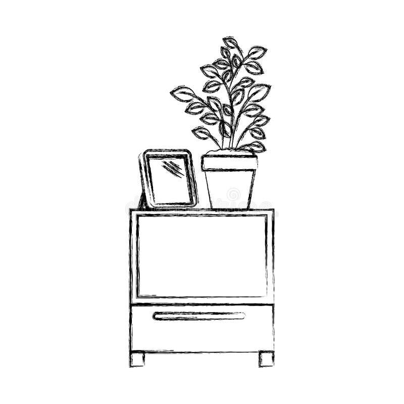 Silueta borrosa monocromática de la tabla decorativa del gabinete con los libros y el plantpot ilustración del vector