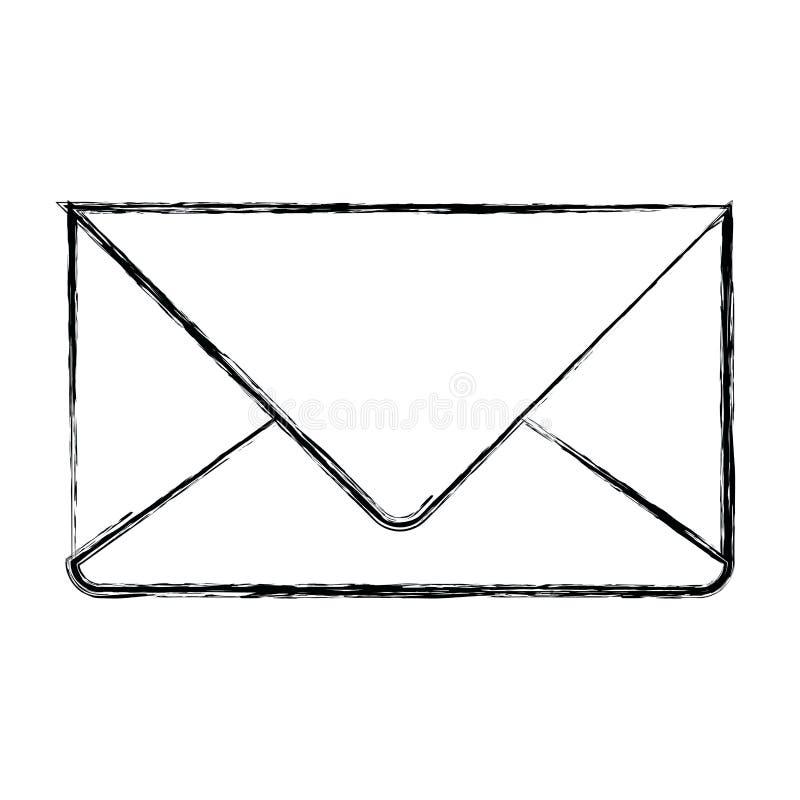 Silueta borrosa monocromática del correo del sobre en primer libre illustration