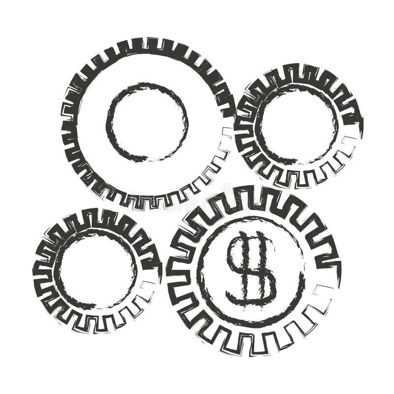 Silueta borrosa monocromática del gráfico del desarrollo económico libre illustration