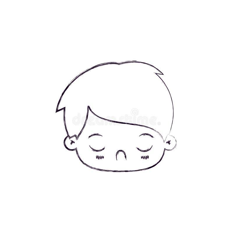 Silueta borrosa monocromática del niño pequeño cansado del kawaii de la expresión facial libre illustration
