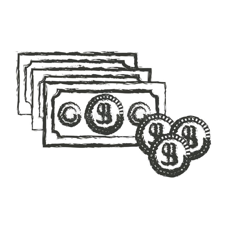 Silueta borrosa monocromática del sistema de las cuentas y de las monedas de dinero libre illustration