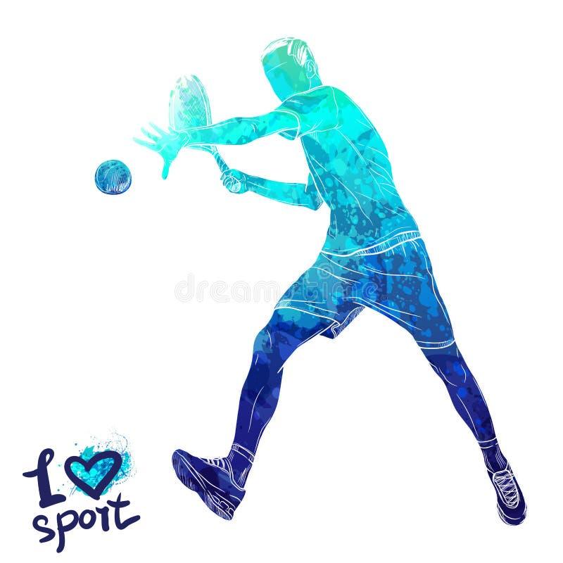 Silueta brillante de la acuarela del jugador de tenis Ejemplo del deporte del vector Figura gráfica del atleta Gente activa stock de ilustración
