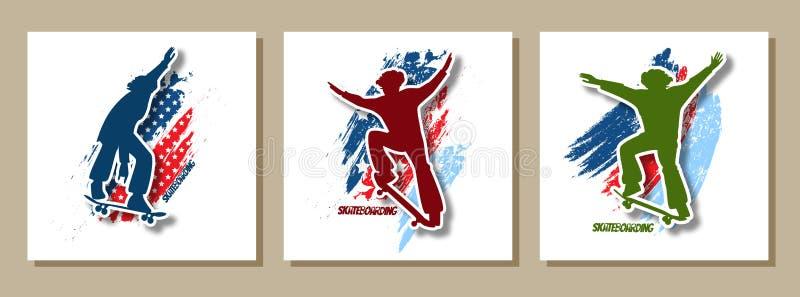 Silueta brillante determinada del skater que hace truco de salto en fondo del grunge de la bandera americana Cartel elegante, ban stock de ilustración