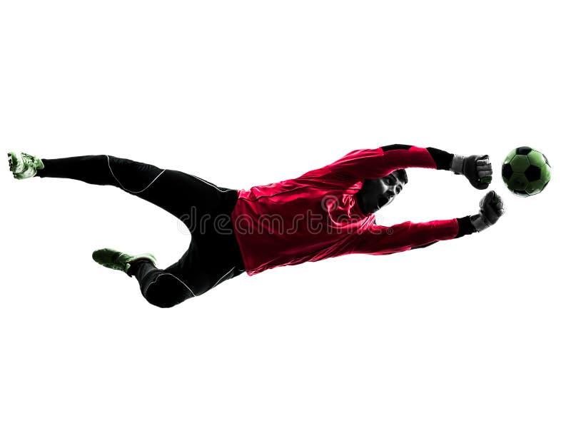 Silueta caucásica de la bola de perforación del hombre del portero del jugador de fútbol imagenes de archivo