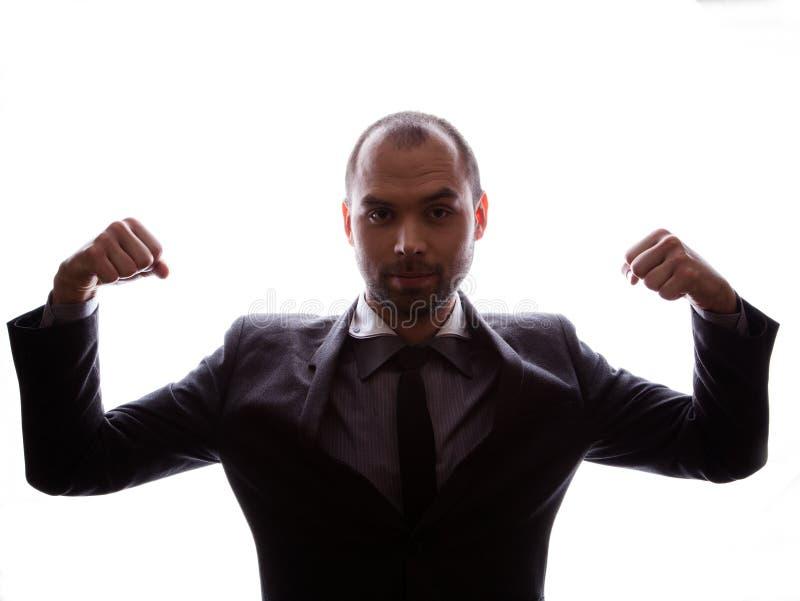 Silueta caucásica del hombre de negocios imagen de archivo libre de regalías