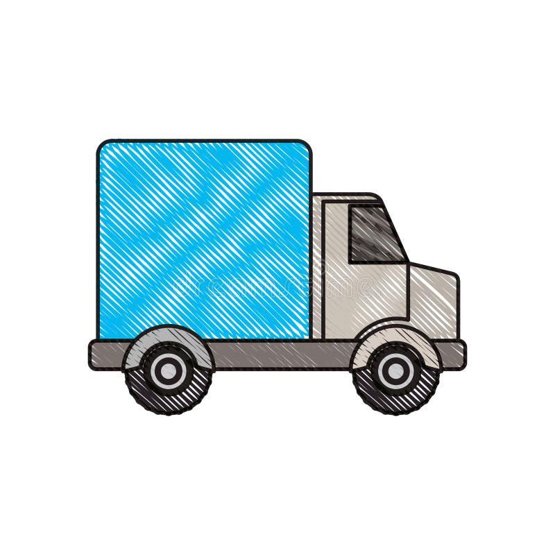 Silueta coloreada del creyón del camión con el carro libre illustration