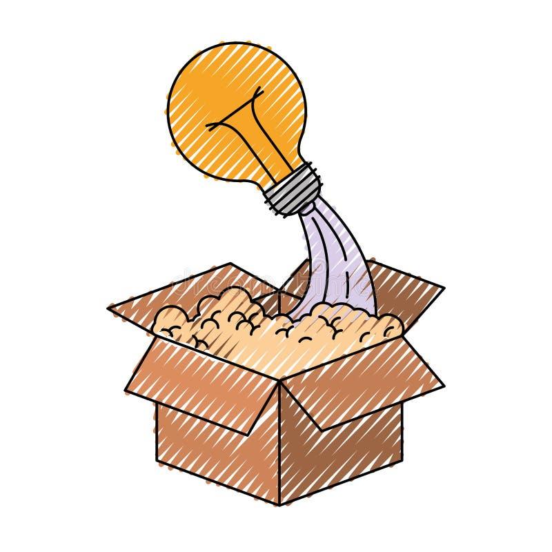 Silueta coloreada del creyón de la caja de cartón y de la bombilla libre illustration