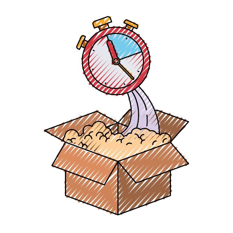 Silueta coloreada del creyón de la caja de cartón y del cronómetro ilustración del vector