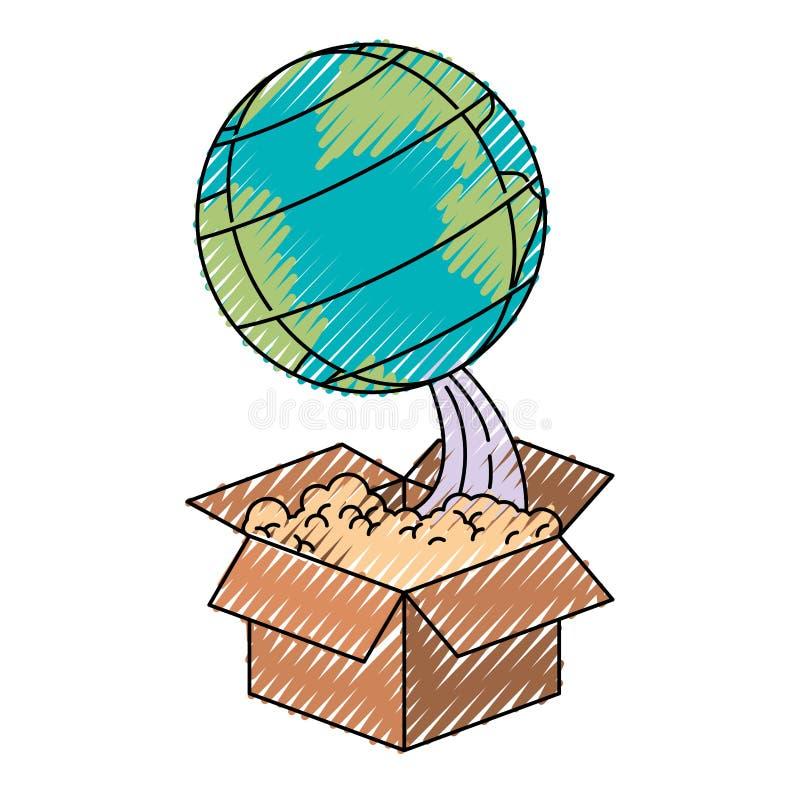 Silueta coloreada del creyón del globo de la tierra que sale de la caja ilustración del vector