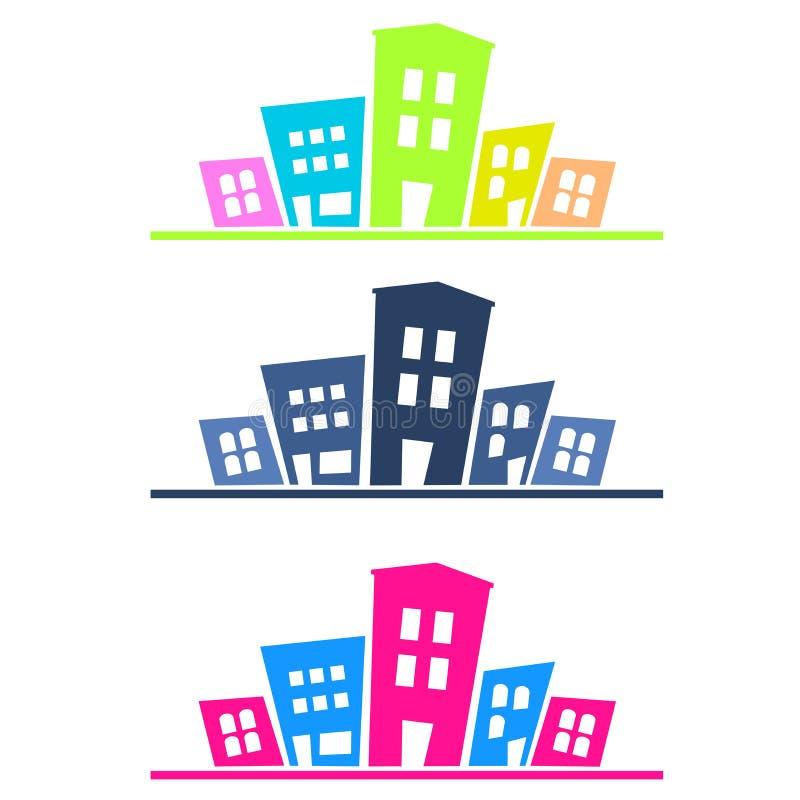 Silueta colorida de la ciudad stock de ilustración