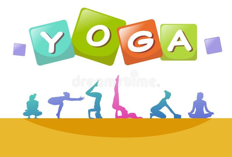 Silueta colorida de la gente de los deportes, grupo de mujer de las actitudes de la yoga de la diversidad, concepto acertado A4 d ilustración del vector