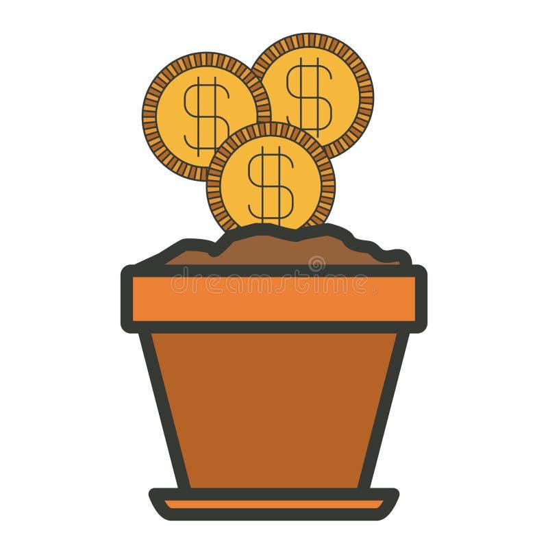 Silueta colorida de la maceta con el sistema de monedas con contorno grueso ilustración del vector
