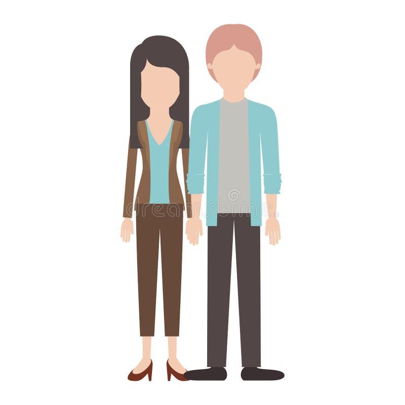 Silueta colorida de los pares anónimos y su con la blusa y chaqueta y pantalones y zapatos del talón con el pelo y él acodados ilustración del vector