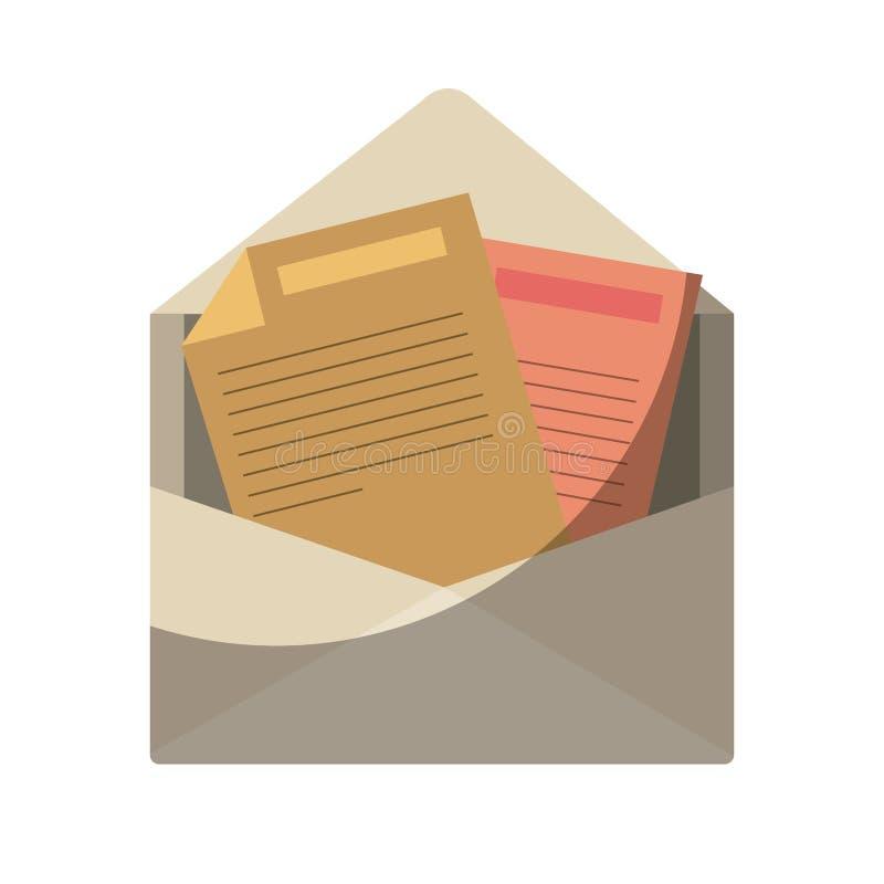 Silueta colorida del correo abierto del sobre sin contorno y sombrear libre illustration