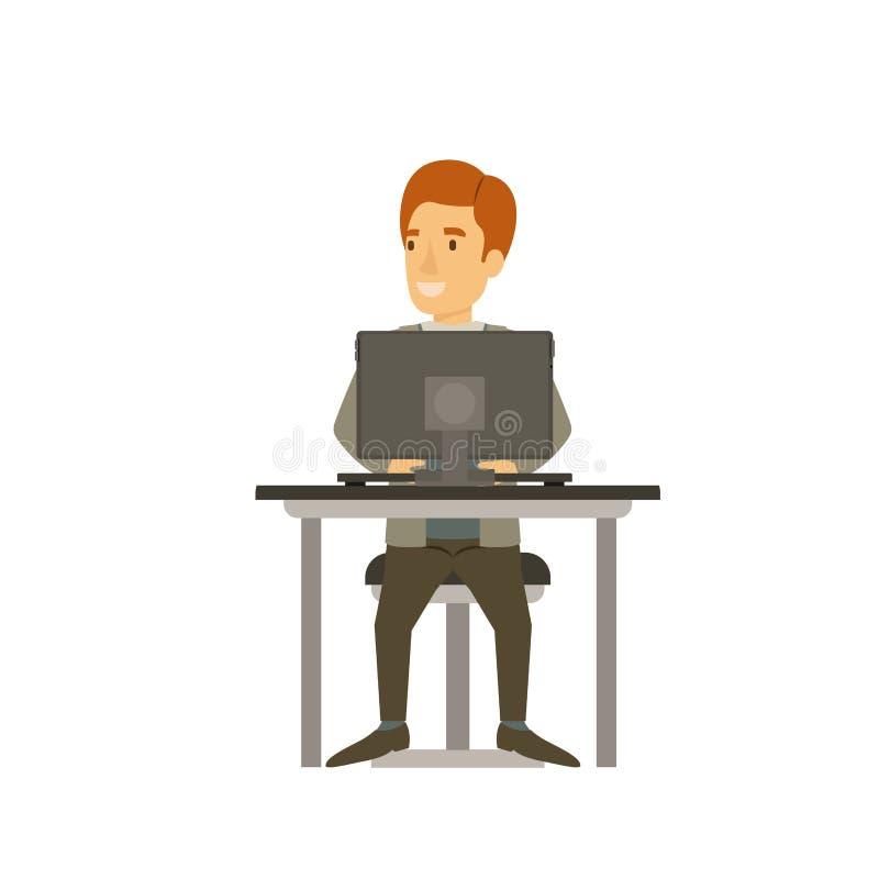Silueta colorida del hombre con el traje formal y el pelo rojo y sentarse en silla en escritorio con el ordenador ilustración del vector