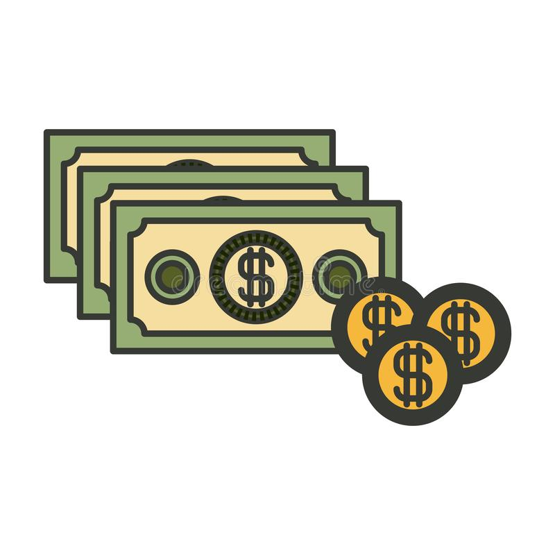 Silueta colorida del sistema de las cuentas y de las monedas de dinero ilustración del vector