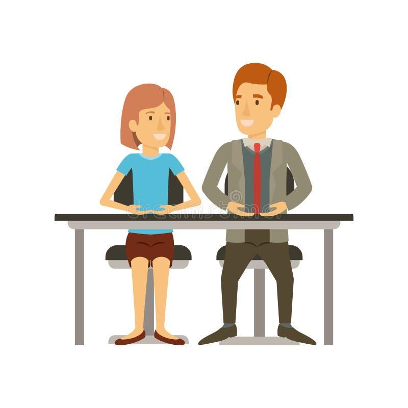 Silueta colorida del trabajo en equipo de la mujer y hombre que se sientan en escritorio y ella con el pelo corto y él en traje f stock de ilustración