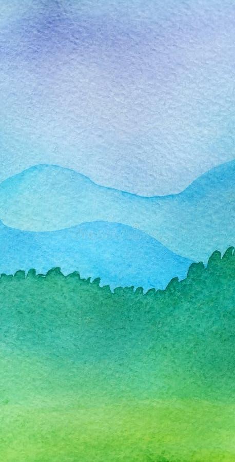 Silueta colorida y paisaje de las montañas del papel pintado ilustración del vector