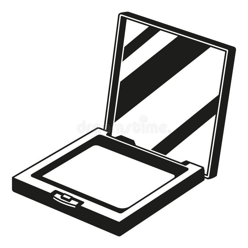 Silueta compacta blanco y negro del polvo del colorete ilustración del vector