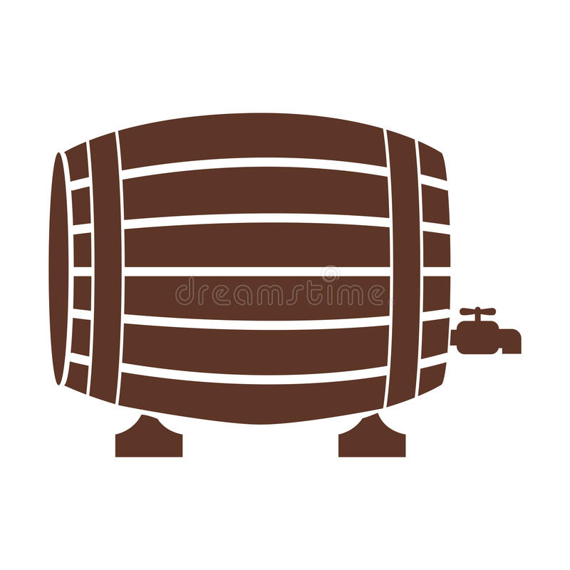 Silueta con el barril del licor en color marrón libre illustration