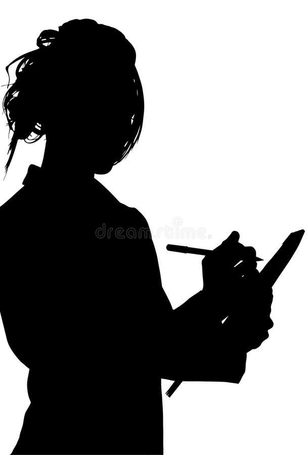 Silueta con el camino de recortes de la escritura de la mujer en la tablilla ilustración del vector