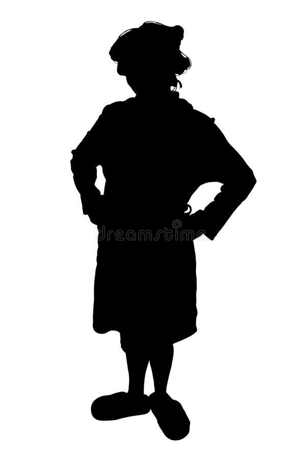 Silueta con el camino de recortes de la mujer en rodillos y deslizadores. stock de ilustración