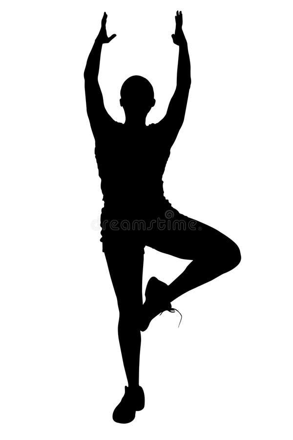 Silueta con el camino de recortes de la mujer que hace yoga stock de ilustración
