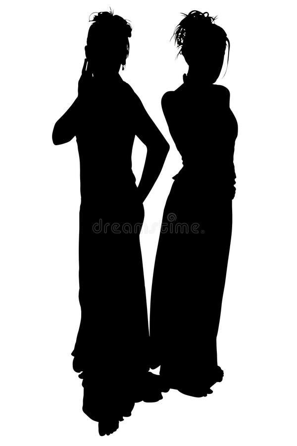 Silueta con el camino de recortes de señoras formales fotografía de archivo