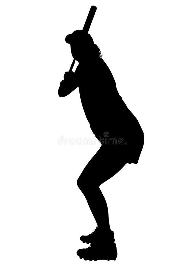 Silueta con el camino de recortes del jugador de beísbol con pelota blanda femenino stock de ilustración