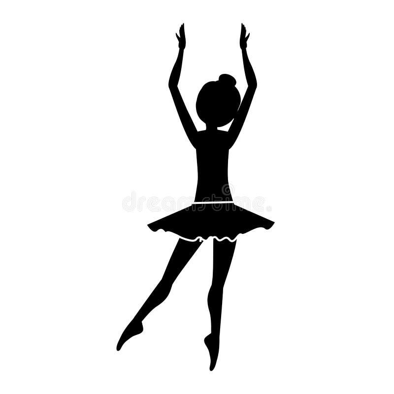 Silueta con los claros del bailarín detrás de la quinta posición stock de ilustración