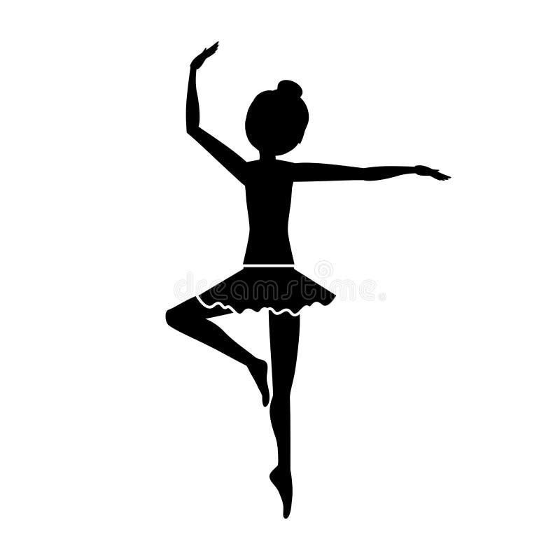 Silueta con posición de la pirueta del bailarín la tercera stock de ilustración
