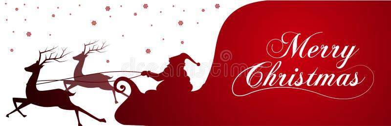 Silueta con Santa Claus y bolso por completo de regalos en fondo del invierno Escena de la historieta letras de la Feliz Navidad stock de ilustración