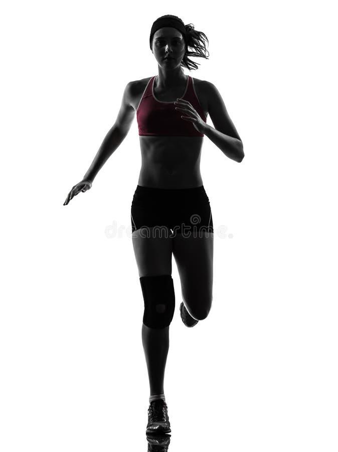 Silueta corriente del maratón del corredor de la mujer imagen de archivo