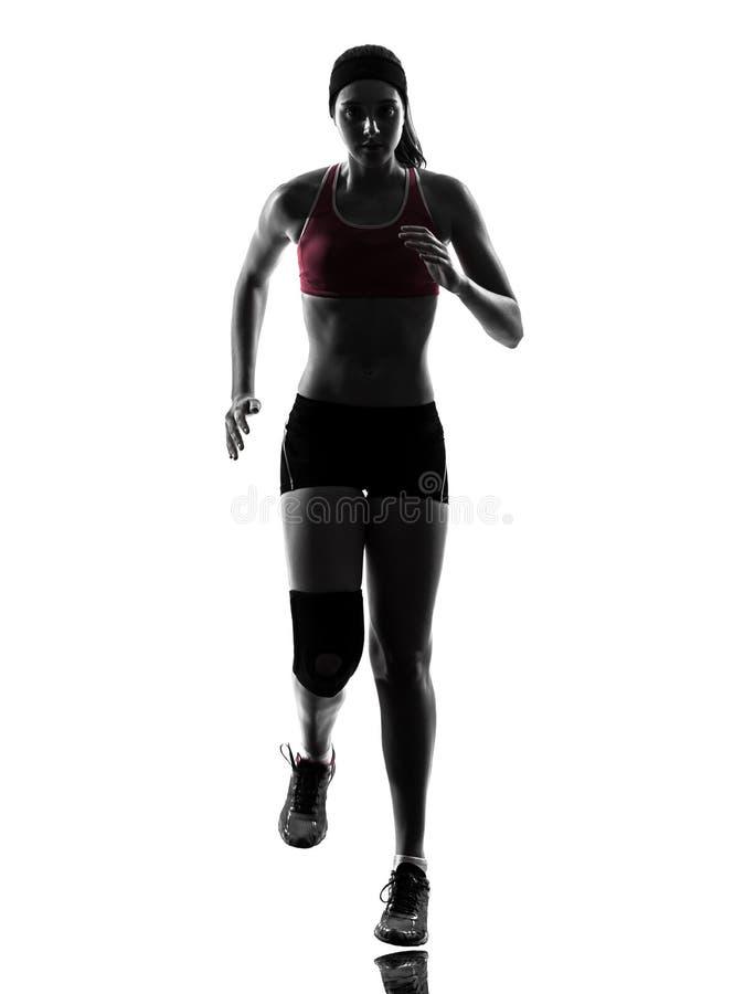 Silueta corriente del maratón del corredor de la mujer fotografía de archivo libre de regalías